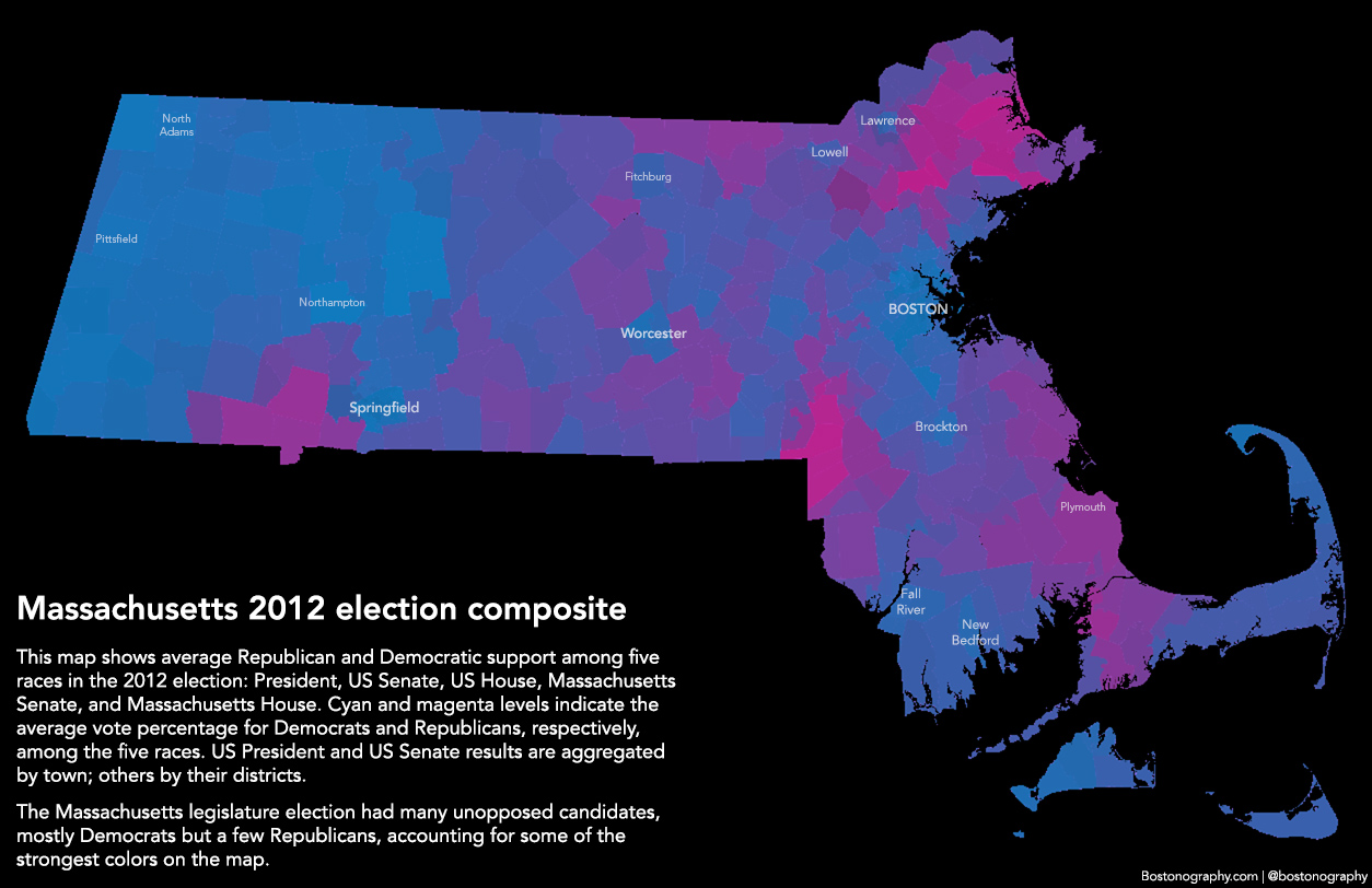 Political Map 2012 Election.Blue And Bluer Massachusetts And Boston 2012 Bostonography