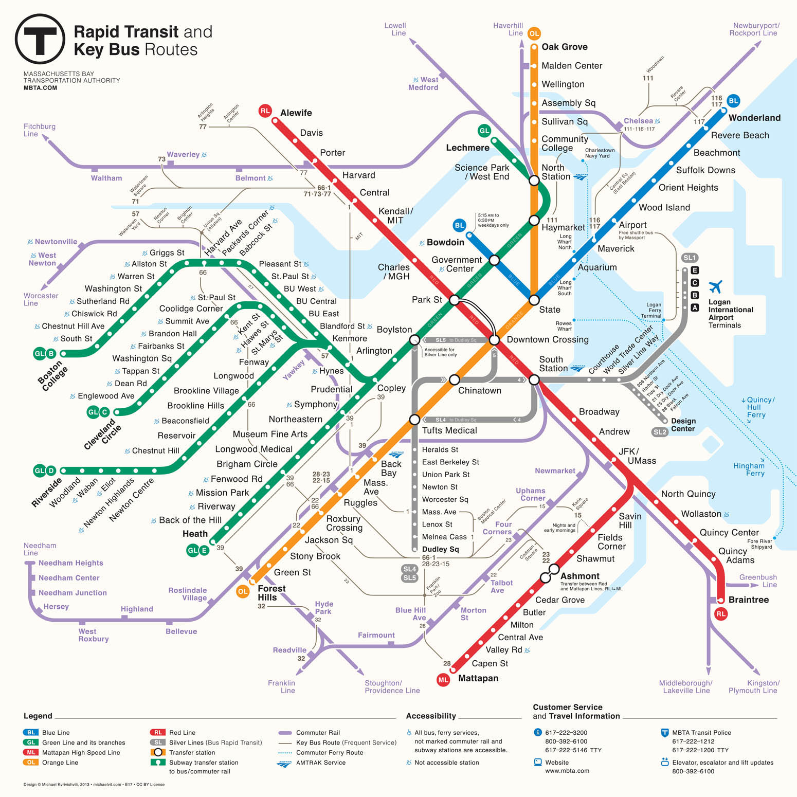 Map Of Boston T MBTA map redesigns | Bostonography