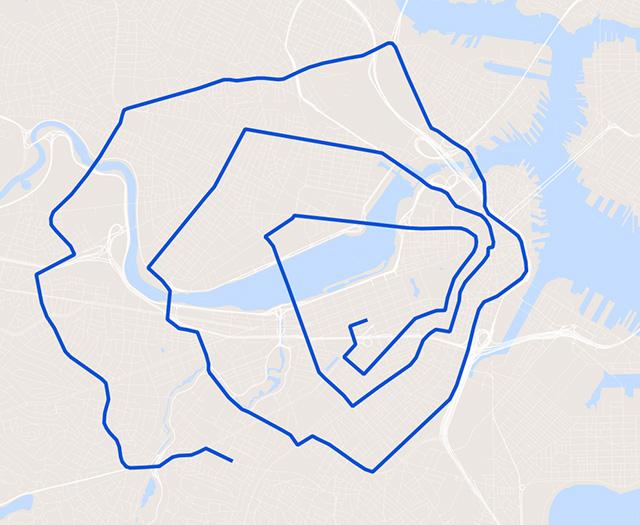 Spiral marathon route!